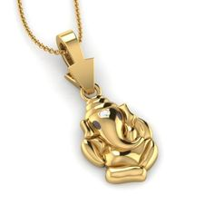 Yellow Gold On 925 Sterling Round Cut White CZ Ganesh Pendant Gold Temple Jewellery, Mens Gold Jewelry, Fancy Jewellery, Gold Bangles Design, Gold Jewellery Design, Gold Pendants For Men, Heart Pendants, Ganesh Pendant, Locket Design