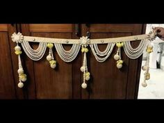Toran cute beaded tassels and pompoms door hanging or altar hanging Diwali Decoration Items, Thali Decoration Ideas, Handmade Decorations, Housewarming Decorations, Home Wedding Decorations, Festival Decorations, Diwali Craft, Diwali Diy, Door Hanging Decorations