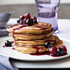 Winter Brunch Recipes – Winter Brunch Menu Ideas - Cinnamon Polenta Pancakes - Delish.com