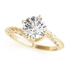 Transcendent Brilliance Curved Band Solitaire Diamond Engagement Ring 1/2 TDW (Yellow - Size 4.5), Women's, Pink