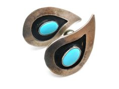Sterling Silver Turquoise Earrings Hand by TheJewelryLadysStore