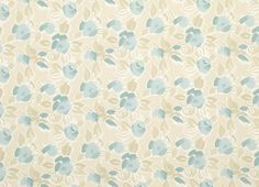 Laura Ashley - Emma Floral Cotton Fabric, Duck Egg