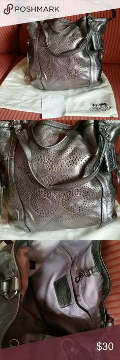 """Metallic Coach handbag 15""""x12"""" Metallic color. From nkn-smoking home. Dust bag included. In great condition. Coach Bags Satchels"""