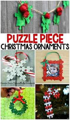 Puzzle Piece Christmas Ornaments for Kids to Make (Cute craft ideas!) - Crafty Morning