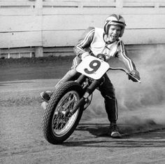 Arguably one of the most iconic and loved images of motorcycle racing legend Gary Nixon. Taken at the old Ascot Park Speedway back in 1967– Nixon, tongue out, sliding into the half-mile oval track turn.