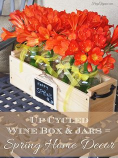 Spring Decor From Up Cycled Wine Box