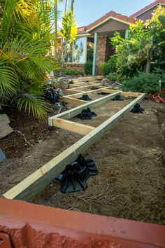 This is a floating walkway sub structure showing 70mm joists on TuffBlock deck blocks with composite decking boards to go over the top. Concrete Deck Blocks, Deck Foundation, Decking Boards, Decking Ideas, Easy Deck, Digging Holes, Raised Deck, Make Build