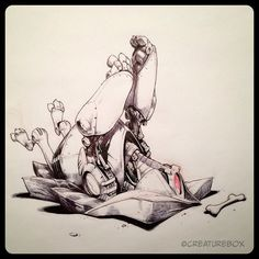 #inktober Day 21: Admitting Defeat. Brush pen, ballpoint and red pencil. | Flickr - Photo Sharing!