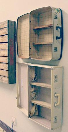 Interesting Shelving Ideas - Moss Cottage - Suitcase Shelves, but I love my suitcases, hmmm? Informations About Interesting Shelving Ideas – M - Furniture Making, Diy Furniture, Vintage Furniture, Accent Furniture, Repurposed Furniture, Furniture Design, Furniture Projects, Furniture Makeover, Camping Furniture