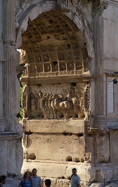 The Arch of Titus at Via Sacra, Rome; constructed in c.82 AD by the Roman Emperor Domitian shortly after the death of his older brother Titus to commemorate Titus' victories, including the Siege of Jerusalem in 70 AD.