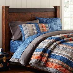 Pbteen.com blue, orange tropical quilt