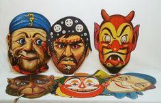 A ingenuidade de outros carnavais. Máscaras de papel para enfeitar bailes de carnaval. Imagens retiradas do site do Brechó Charisma. (www.brechocharism...)