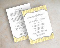 Chevron wedding invitations, chevron invites, vintage wedding invitation, chevron wedding stationery, charcoal gray, gold, yellow, Cecilia on Etsy, $1.00