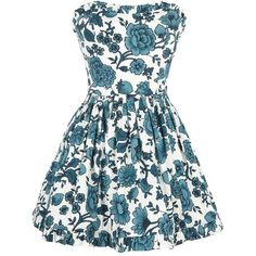 Buttershaw Dress (£93) ❤ liked on Polyvore featuring dresses, vestidos, blue, blue dresses, women, vintage looking dresses, floral day dress, full skirt, cotton floral dress and blue flower print dress