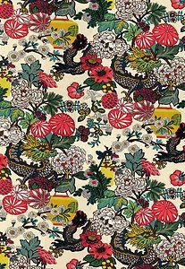 Schumacher Chiang Mai Dragon Fabric Alabaster Chinese New Year Art Deco Linen | eBay