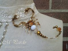 Beaded white scorpion choker with beaded spider and chains