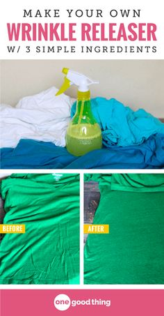 No time to iron? Check out this simple solution for smoothing out the wrinkles in your clothes that costs pennies to make. Plus, it smells great too!