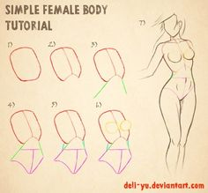 Female body - simpliest and efficient way to draw it ! - by http://deli-yu.deviantart.com/