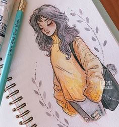 Itslopez art art, drawings e amazing drawings Amazing Drawings, Cute Drawings, Amazing Art, Fall Drawings, Pencil Drawings, Drawings Of Girls, Hipster Drawings, Pencil Art, Bel Art