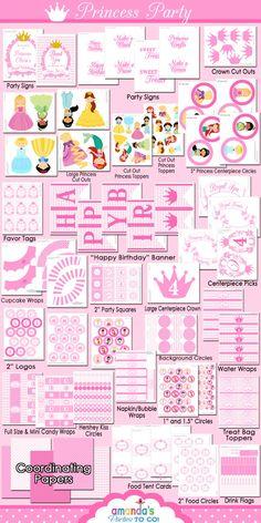 Princess Party Printable - Princess Birthday -Cinderella - Belle - Ariel -  Tiana - Rapunzel -Huge Party Set by Amanda's Parties TO GO. $29.00, via Etsy.