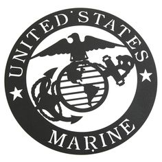 """Marines Corps Emblem Metal Silhouette:  Semper fidelis! Salute the men and women of our armed forces with this U.S. Marine Corps emblem silhouette. The 12"""" diameter emblem is laser-cut from heavy-gauge steel and then powdercoated in textured black for years of honorable service. Great for display indoors or out! Made in the USA. Ships directly from the manufacturer."""