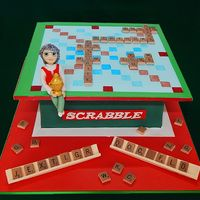 Scrabble Game Birthday Cake with fondant tiles and figurine by Sweet Fascinations.