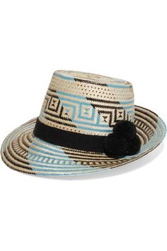 Shop for Pompom-embellished Woven Straw Sunhat - Blue by Yosuzi at ShopStyle. Now for Sold Out. Turban, Straw Fedora, Straw Hats, Travel Hat, Christian Louboutin, Crazy Hats, Sun Hats, Hats For Women, Outfit
