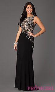 Buy Sleeveless Floor Length Lace Embellished Dress at PromGirl