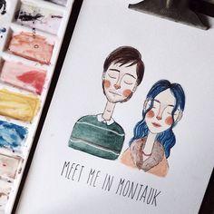 Meet me in Montauk ✨ #watercolor #illustration #EternalSunshineoftheSpotlessMind