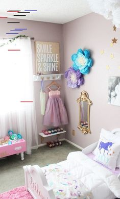 A Dress-up Corner for a Shared Big Girl Room for Sisters is a must-have am I Bi. A Dress-up Corner for a Shared Big Girl Room for Sisters is a must-have am I Big Girl Rooms big co Dress Up Corner, Dress Up Area, Unicorn Rooms, Unicorn Bedroom, Unicorn Pillow, Unicorn Room Decor, Unicorn Wall Art, Big Girl Bedrooms, Little Girl Rooms