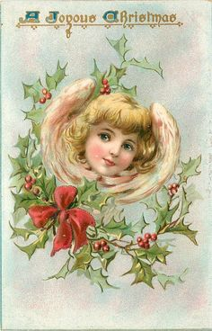 A JOYOUS CHRISTMAS head of angel framed by wings above holly