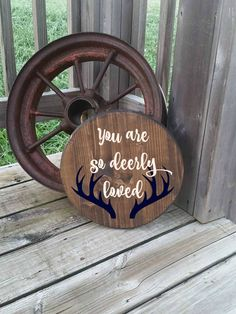Deer Sign - Round Wooden Sign - You Are So Deerly Loved - Gift for baby - Antler Wall Decor - Rustic Room Sign - Hunting Room Decor - Kids