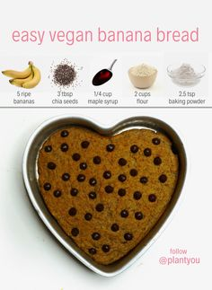 Plant Based Program – Plant You We love how simple this vegan banana bread! This requires minimal ingredients and can be made in under 30 minutes! We love when any desserts are quick as well as delicious! Quick Vegan Desserts, Healthy Desserts For Kids, Summer Desserts, Healthy Snacks, Vegan Treats, Vegan Foods, Vegan Recipes, Low Calorie Recipes, Bolo Vegan