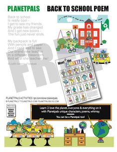 Back to School Poem From Planetpals Upbeat Cute Fun! by PLANETPALS Back To School Poem, School Rhymes, Poems About School, Earth Science Lessons, Friendship Activities, Paragraph Writing, Interactive Activities, Got Books, Elementary Education