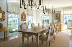 French country dining, simple and elegant bleached wood, sisal carpet farm table checked chairs beautiful