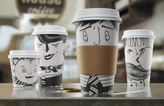 that coffee cups can be fashionably design. These are a hoot! Love them!