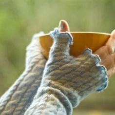 Sew, don't knit these fast fingerless mitts. The link includes an actual-size template.