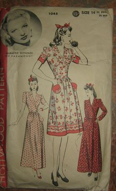 Hollywood Pattern #1045 1940's Vintage Marjorie Reynolds   I have this one! And someday I will get around to making it!