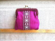 Heart print linen fabric coin purse money pouch kiss lock frame purse birthday gift for girl