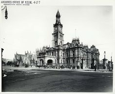 Caption: Town Hall, George Street, Sydney (NSW) Digital ID: Date: n. Format: Black and white photograph Size: cm Australian Architecture, Architecture Old, Historical Architecture, Victorian Architecture, Great Photos, Old Photos, Vintage Photos, Aboriginal History, Australian Photography
