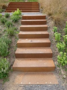 Corten stairs in Berne Park, by Piet Outdolf & Gross Max Landscape Elements, Landscape Concept, Landscape Design, Garden Paving, Garden Steps, Landscape Stairs, Landscape Architecture, Contemporary Garden Design, Entry Stairs