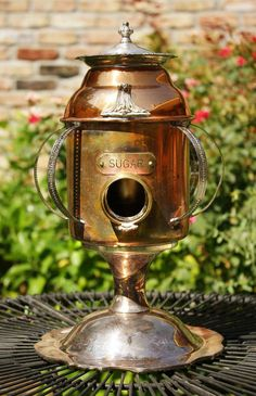 GadgetSponge Birdhouse Bird house Upcycled Copper Sugar Canister Silverplate Cage with Recycled Found Items OOAK