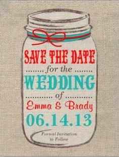 My Aqua & Red with Burlap & Mason jar! Rustic Weddings - 101 Great Ideas