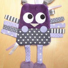 Doudou plat hibou/chouette - violet et gris