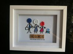 Button head family scrabble frame - The Supermums Craft Fair Would make the perfect present for one of my best friend and her family. Scrabble Frame, Scrabble Art, Scrabble Family Names, Hobbies And Crafts, Crafts To Make, Crafts For Kids, Button Art, Button Crafts, Cool Ideas