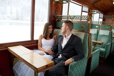 Matt and I on a 1920s style train car - Glacier Express - - See more of our wanderlust wedding photos on our blog www.travelwheretonext.com
