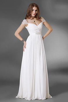 A Line Floor Length Off The Shoulder Chiffon With Beadings&Sequins Prom Dresses