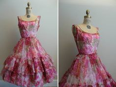 Vintage 1950s 1960s Party Dress Floral by CreatedAndCollected