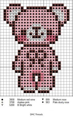 Cross stitch chart. A Pink Teddy Bear. #cross_stitch
