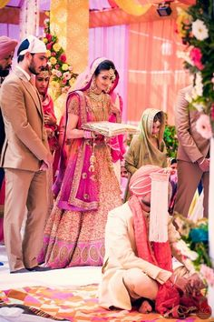 coral bridal lehenga, orange bridal lehenga, orange and pink bridal lehenga…